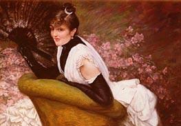 Portrait De Femme A L'Eventail, undated by Joseph Tissot   Painting Reproduction