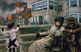 Waiting for the Ferry, c.1878 by Joseph Tissot | Painting Reproduction