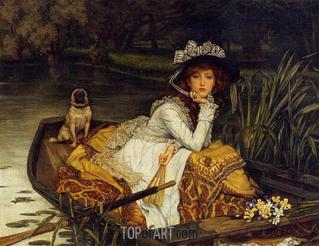 Young Lady in a Boat, c.1870 | Joseph Tissot| Painting Reproduction