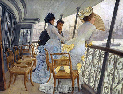 The Gallery of H.M.S. Calcutta, 1877 | Joseph Tissot| Painting Reproduction