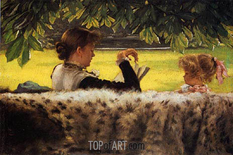 Reading a Story, c.1878/79 | Joseph Tissot | Painting Reproduction
