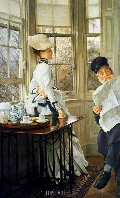 Reading the News, c.1874 | Joseph Tissot | Painting Reproduction