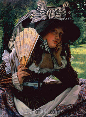 Young Lady with a Fan, c.1870/71 | Joseph Tissot| Painting Reproduction