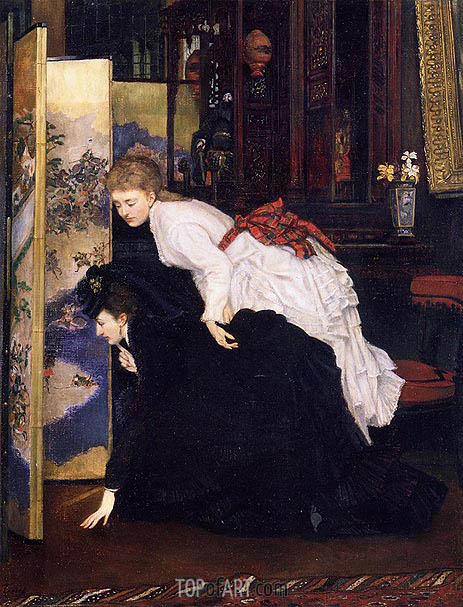 Young Women Looking at Japanese Objects, c.1869/70 | Joseph Tissot | Gemälde Reproduktion