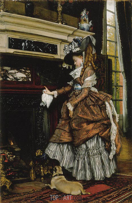 The Fireplace, c.1869 | Joseph Tissot | Painting Reproduction