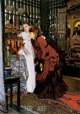Young Women Looking at Japanese Objects, 1869 | Joseph Tissot| Painting Reproduction