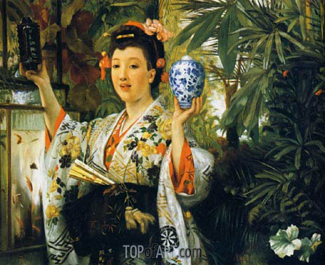 Joseph Tissot | Young Lady Holding Japanese Objects, 1865
