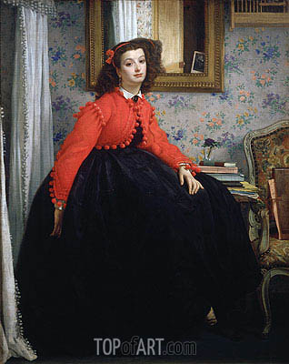 Young Woman in a Red Jacket, 1864 | Joseph Tissot| Painting Reproduction