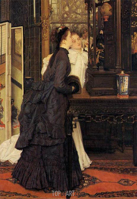 Young Ladies Looking at Japanese Objects, 1869 | Joseph Tissot | Painting Reproduction