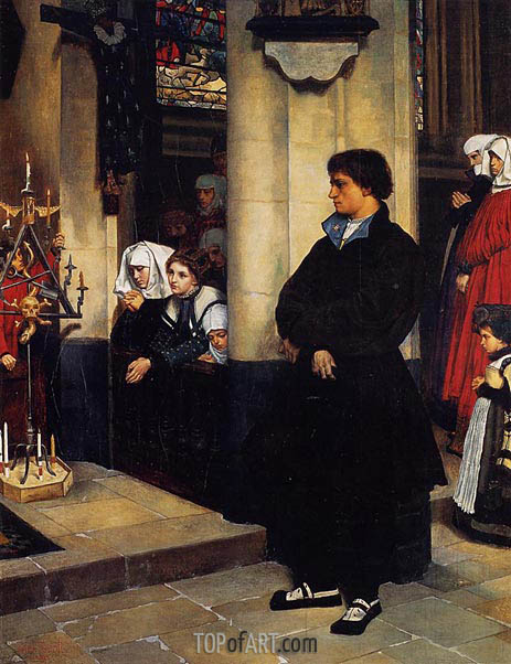 During the Service (Martin Luther's Doubts), 1860 | Joseph Tissot | Gemälde Reproduktion