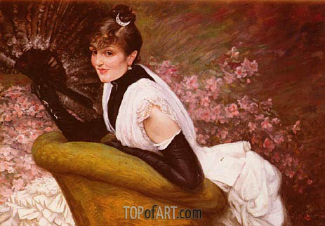 Portrait De Femme A L'Eventail, undated | Joseph Tissot | Painting Reproduction