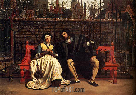 Faust and Marguerite in the Garden, 1861 | Joseph Tissot | Painting Reproduction