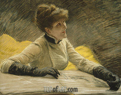 Admiring a Portfolio,  | Joseph Tissot| Painting Reproduction