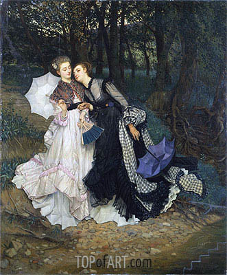 The Secret (Confession), c.1867 | Joseph Tissot| Painting Reproduction