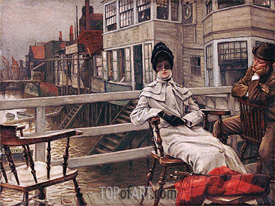 Waiting for the Boat at Greenwich, undated | Joseph Tissot| Painting Reproduction
