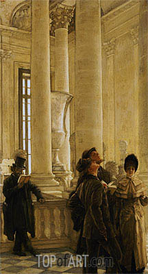 The North Stairs at the Louvre , undated | Joseph Tissot| Painting Reproduction