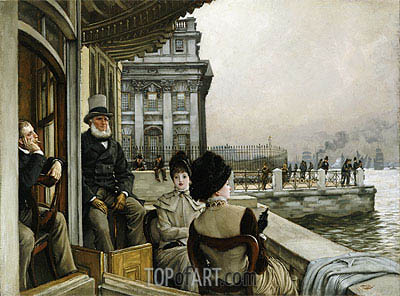 The Terrace of the Trafalgar Tavern, Greenwich, c.1878 | Joseph Tissot| Painting Reproduction