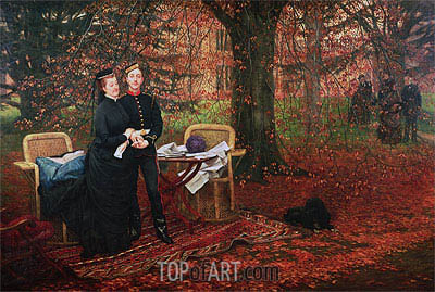 Empress Eugenie and Eugene-Louis Napoleon Bonaparte at Camden Place, Chislehurst, 1872 | Joseph Tissot | Painting Reproduction