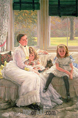 Portrait of Mrs Catherine Smith Gill and Two of Her Children, 1877 | Joseph Tissot| Painting Reproduction