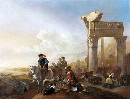 Hunters Near Ruins, 1648 by Jan Baptist Weenix | Painting Reproduction