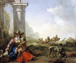 Italian Peasants and Ruins, 1650 von Jan Baptist Weenix | Gemälde-Reproduktion