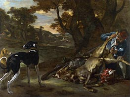 A Huntsman Cutting up a Dead Deer, with Two Deerhounds, c.1647/60 von Jan Baptist Weenix | Gemälde-Reproduktion