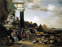 Figures among Ruins, 1656 by Jan Baptist Weenix | Painting Reproduction