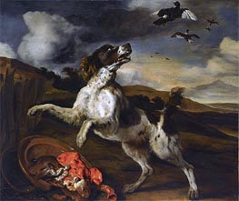 A Landscape with an English Springer Spaniel , Undated von Jan Baptist Weenix | Gemälde-Reproduktion