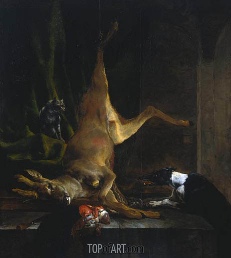 Jan Baptist Weenix | A Dog and a Cat near a Partially Disembowelled Deer, c.1647/60