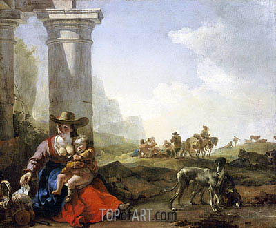 Italian Peasants and Ruins, 1650 | Jan Baptist Weenix| Painting Reproduction