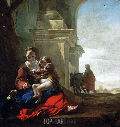 Rest on the Flight into Egypt, c.1647/50 | Jan Baptist Weenix| Gemälde Reproduktion