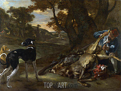 A Huntsman Cutting up a Dead Deer, with Two Deerhounds, c.1647/60 | Jan Baptist Weenix| Gemälde Reproduktion