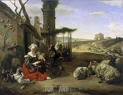 Jan Baptist Weenix | Italian Landscape with Inn and Ancient Ruins, 1658