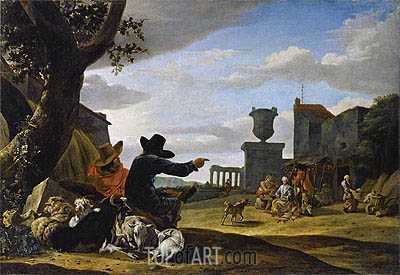 Ruined Landscape with a Tavern,  | Jan Baptist Weenix | Gemälde Reproduktion