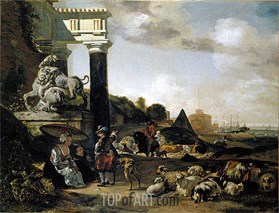 Figures among Ruins, 1656 | Jan Baptist Weenix| Painting Reproduction