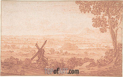 Jan Baptist Weenix | An Extensive Panoramic Landscape with a Windmill, Undated