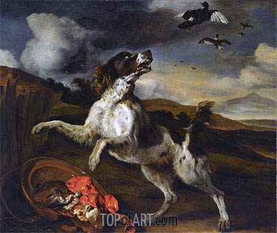 A Landscape with an English Springer Spaniel ,  | Jan Baptist Weenix | Painting Reproduction