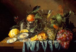 Still Life with Oysters and Grapes, 1653 von de Heem | Gemälde-Reproduktion