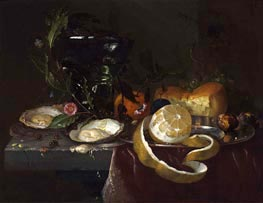 Still Life with Oysters and a Peeled Lemon, undated von de Heem | Gemälde-Reproduktion