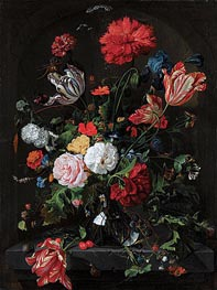 Flowers in a Glass Vase, c.1660 by de Heem | Painting Reproduction