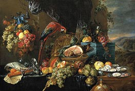 Sumptuous Still Life with Parrot, c.1660 by de Heem | Painting Reproduction