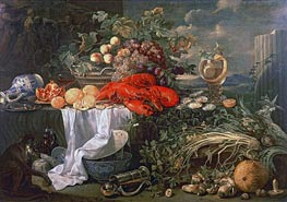 Still Life with a Monkey, Undated by de Heem | Painting Reproduction