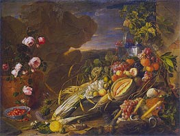 Fruit and a Vase of Flowers, 1655 by de Heem | Painting Reproduction