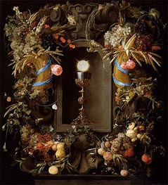 Communion Cup and Host, Encircled with a Garland of Fruit, 1655 von de Heem | Gemälde-Reproduktion
