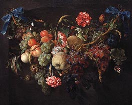 Fruit Garland, c.1650/60  by de Heem | Painting Reproduction