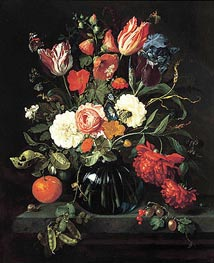 Vase of Flowers, 1654 by de Heem | Painting Reproduction