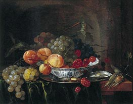 Still Life with Chinese Bowl, Fruit and Oysters, 1640 by de Heem | Painting Reproduction