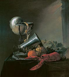 Still Life with Nautilus Cup and Lobster, 1634 by de Heem | Painting Reproduction