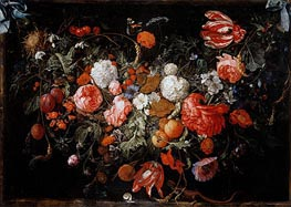 Still Life with Garland of Fruit and Flowers, c.1669 by de Heem | Painting Reproduction
