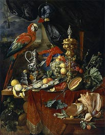 Still Life with Parrots, c.1646/49 by de Heem | Painting Reproduction